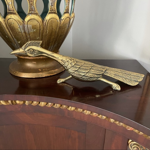 Vintage mid century brass pheasant road runner